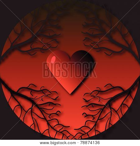 Gothic Frame With Tree Branches And Heart