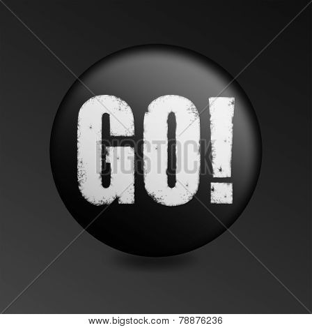 Black Button With The Word Go