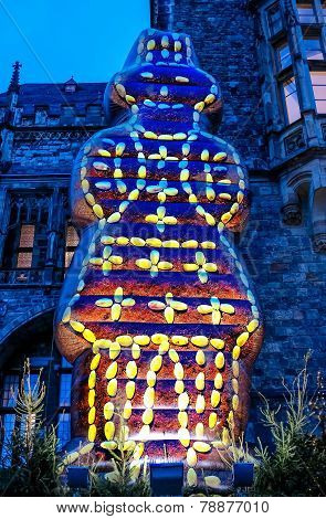 The Printen sculpture in front of cathedral in Aachen at Christmas market, Germany