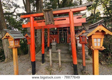 The torii gate of HISATOMI Daimyojin in Yoshino, Nara, Japan.