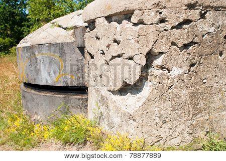 Iron pillbox on hill. Baltiysk, Russia