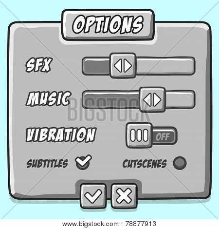 Options menu stone style game buttons