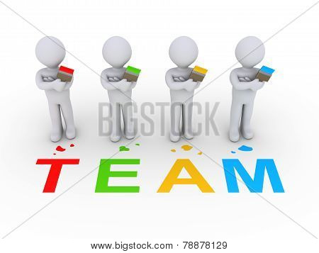 Group Of Painters As Team