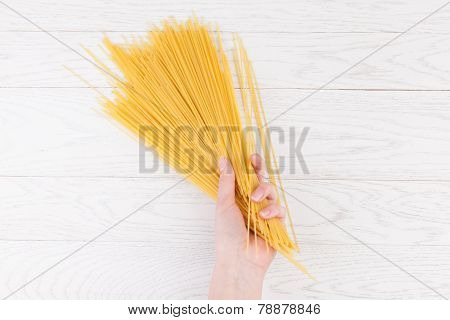 Italian Spaghetti In Female Hands