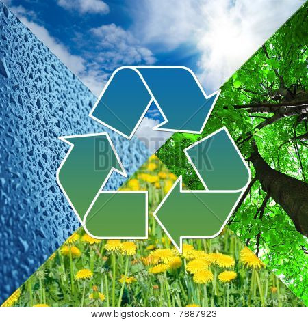Recycling Sign With Images Of Nature - Eco Concept