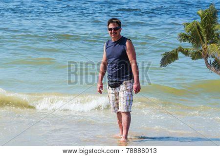 Man, Beach, Ocean, Palm Tree