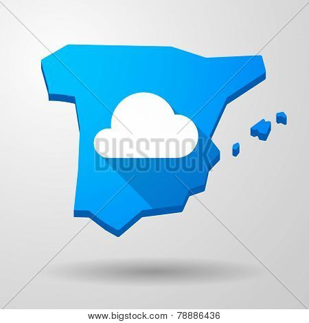 Spain Map Icon With A Cloud