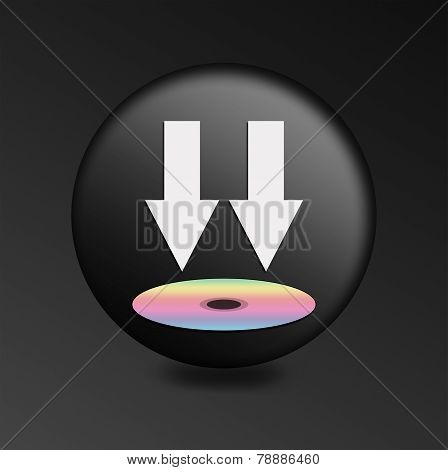 Black Button With Icon Download
