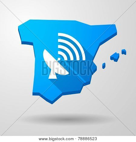 Spain Map Icon With An Antenna