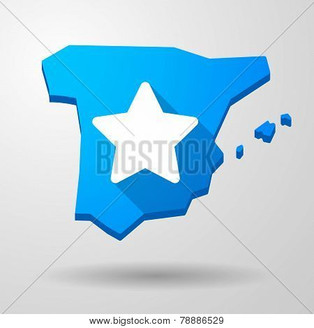 Spain Map Icon With A Star