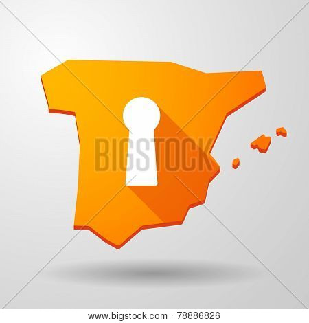 Spain Map Icon With A Keyhole