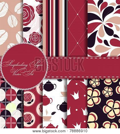 Set of Beautiful Vector Paper for Scrapbook