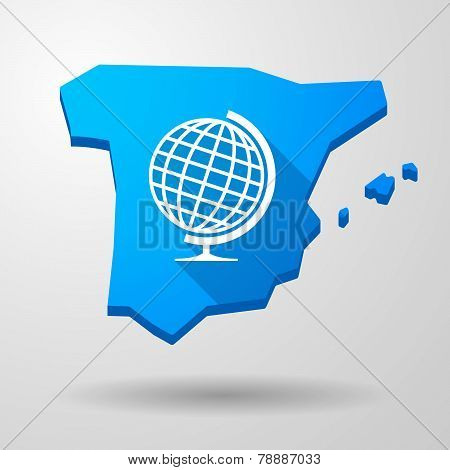 Spain Map Icon With A World Globe