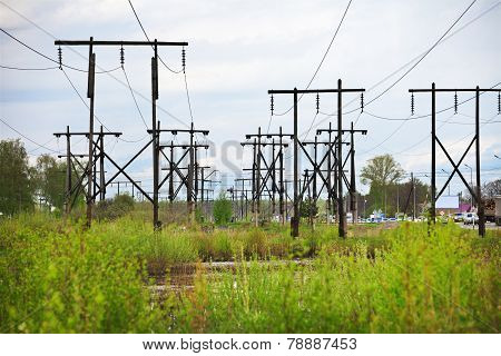 Conglomeration Timber Supports High-voltage Line