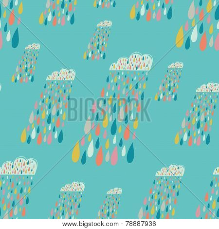 Vector Cute Seamless Pattern With Colorful Rainy Clouds. Blue Endless Background.