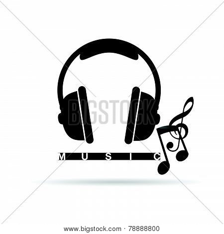 Headphones Vector With Music Notes Illustration