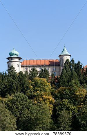 view on castle Nowy Wisnicz in Poland on a background of blue sky