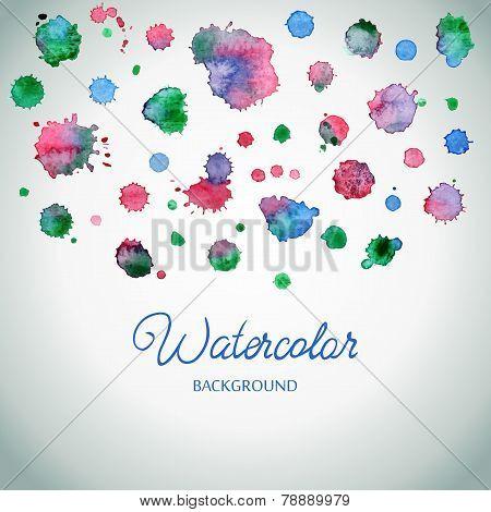 Spray Vector Paint, Watercolor Splash Background, Colorful Paint Drops Texture.