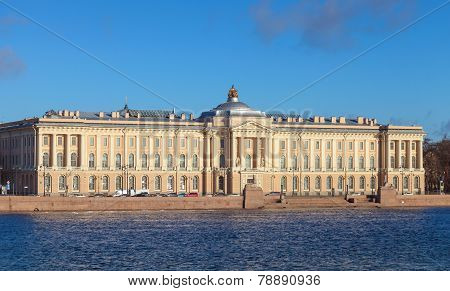 Neva River And Imperial Academy Of Arts In St.petersburg