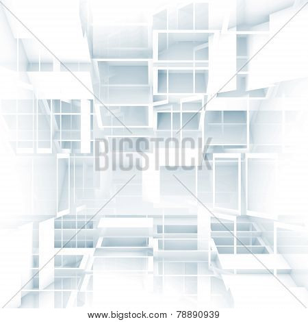 Abstract Digital 3D Background With Chaotic White Cubes