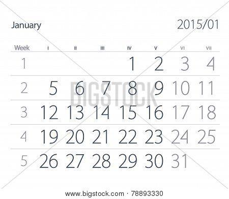2015 Year Calendar. January