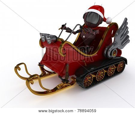 3D Render of an Android in snowmobile sleigh