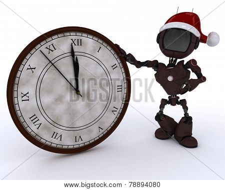 3D Render of an Android with clock before midnight