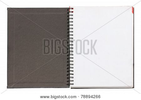 Open Blank Notebook Black Cover Isolated On White.