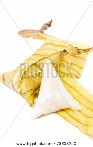 Pieces Of Rice Dumplings Wrapped With Fan Palm Leaves Use For Religious Ceremony In Southern Of Thai
