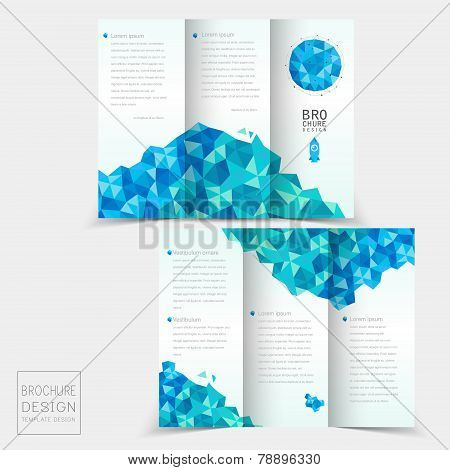 Tri-fold Brochure Design With Geometric Blue Crystal Elements