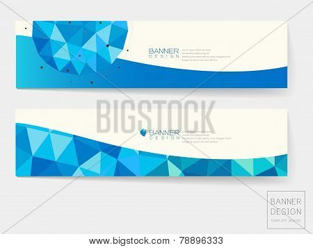 Banner Design With Geometric Blue Crystal Elements