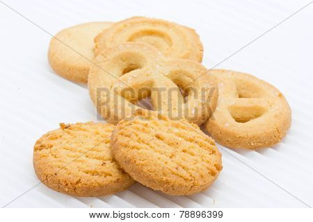 Group Of Butter Cookies Isolated On White.