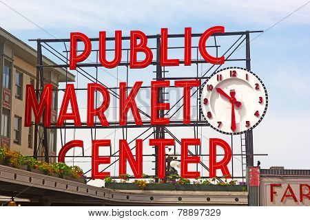 Public Market Center sign in Seattle downtown.