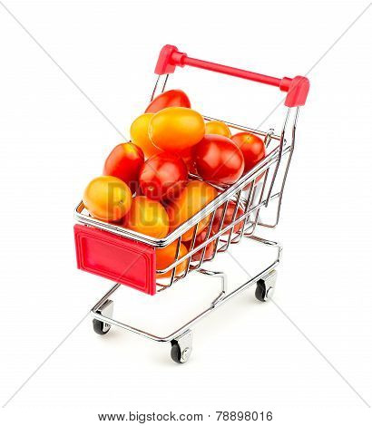 Shopping Cart With Massive Multicolored Grape Tomatoes