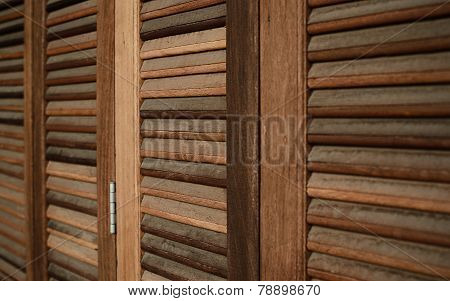 The Wood Louver Door Old Condition Classic Style