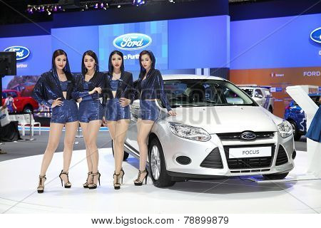 Bangkok - November 28: Ford Focus Car With Unidentified Models On Display At The Motor Expo 2014 On