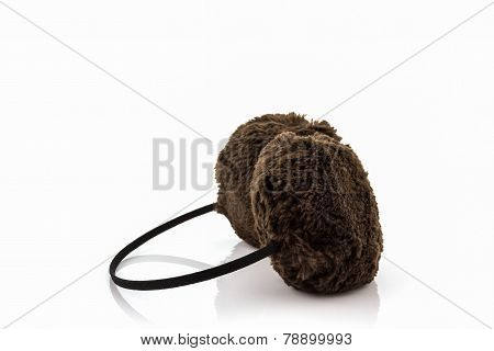 Brown Fuzzy Winter Ear Muff .
