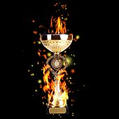 picture of trophy  - Golden trophy cup with fire on black background - JPG
