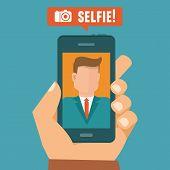 stock photo of selfie  - Vector selfie concept  - JPG