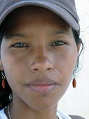 image of creole  - pretty young Creole Latina woman from Corn Island Nicaragua with serious look on face - JPG