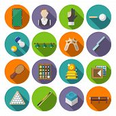stock photo of snooker  - Billiards snooker pool game competition icons flat set isolated vector illustration - JPG
