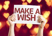 foto of wishing-well  - Make a Wish card with heart bokeh background - JPG