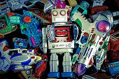 stock photo of tin man  - a colection  of old toys - JPG