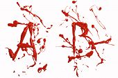 image of letter b  - Letter a and b painted red paint - JPG