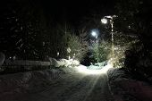 picture of novosibirsk  - Lights illuminate the road in the village - JPG