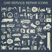 picture of gasoline station  - Set of auto repair service elements for creating your own infographics or maps of the car service station - JPG