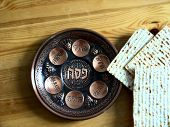 stock photo of seder  - Plate for the Jewish holiday Passover seder next are three pieces of matza Jewish bread on a wooden surface - JPG