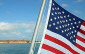 pic of civil war flags  - US Flag flying high near Dry tortugas - JPG