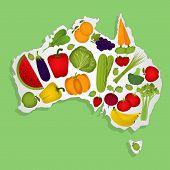 stock photo of australie  - Map of Australia full of fruits and vegetables  - JPG
