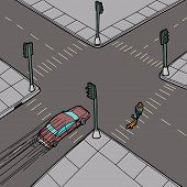 stock photo of intersection  - Car passing person walking dog across intersection - JPG